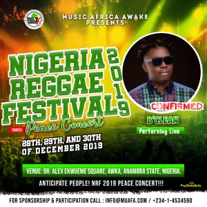 B'Clean to perform live at the Nigeria Reggae Festival 2019