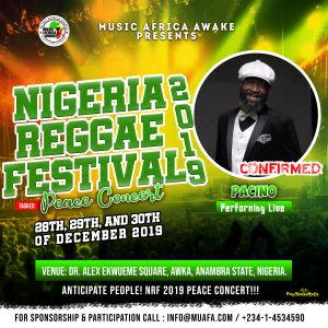 Pacino to perform live at the Nigeria Reggae Festival 2019